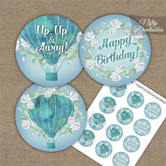 Hot Air Balloon Turquoise Birthday Cupcake Toppers