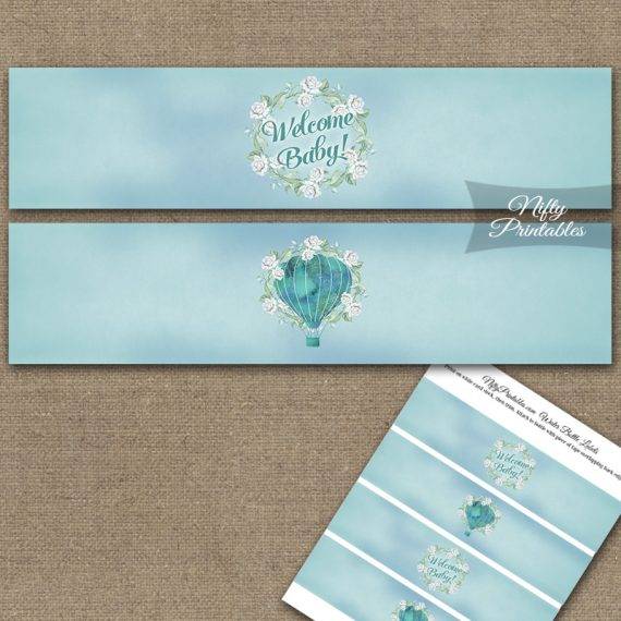 Hot Air Balloon Turquoise Baby Shower Water Bottle Labels