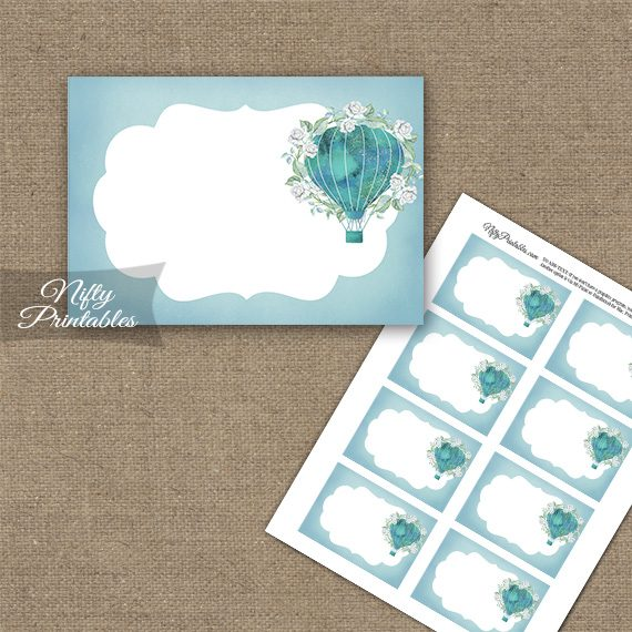 Hot Air Balloon Turquoise Blank Labels