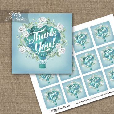 Hot Air Balloon Turquoise Thank You Favor Tags