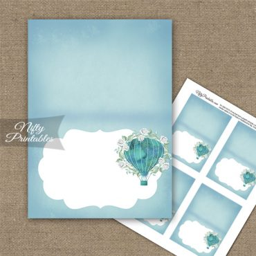 Hot Air Balloon Turquoise Folded Tent Place Cards