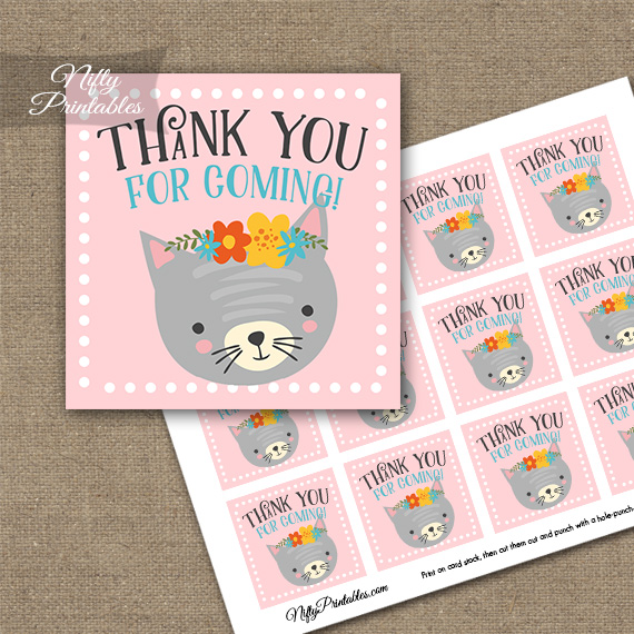 Cute Kitty Thank You Favor Tags