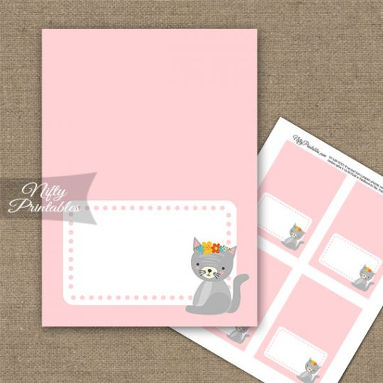 Cute Kitty Folded Tent Place Cards