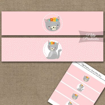 Cute Kitty Water Bottle Labels