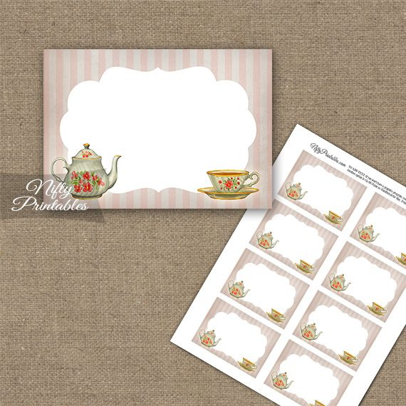 Tea Party Stripe Blank Labels