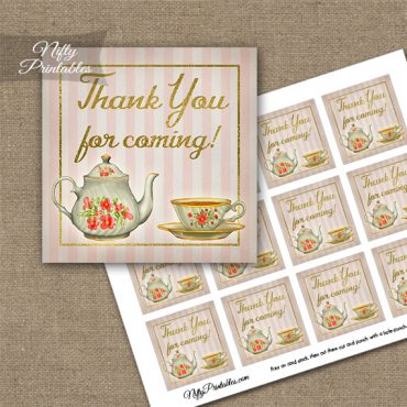 Tea Party Stripe Thank You Favor Tags