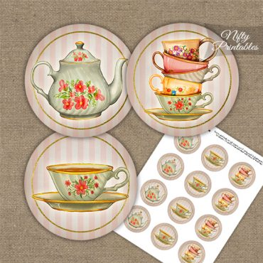Tea Party Stripe Cupcake Toppers