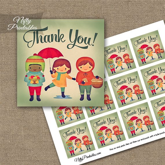 Autumn Kids Thank You Favor Tags
