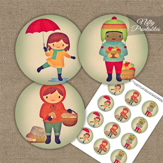 Autumn Kids Cupcake Toppers
