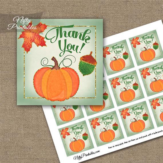 Autumn Pumpkin Thank You Favor Tags