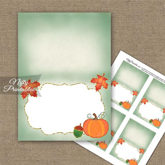 Autumn Pumpkin Folded Tent Place Cards
