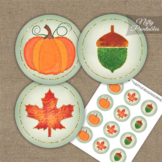 Autumn Pumpkin Cupcake Toppers