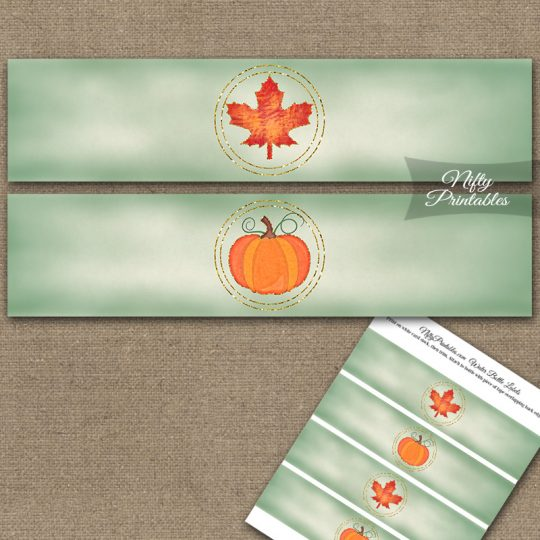 Autumn Pumpkin Water Bottle Labels