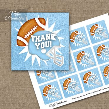 Baby Blue Football Thank You Favor Tags