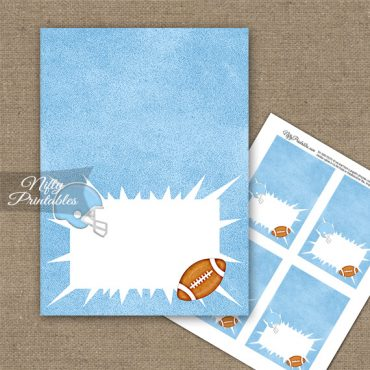 Baby Blue Football Folded Tent Place Cards
