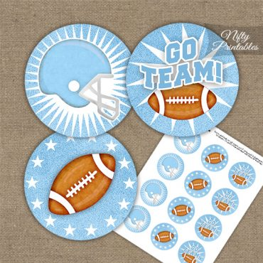 Baby Blue Football Cupcake Toppers