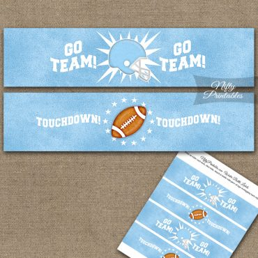 Baby Blue Football Water Bottle Labels