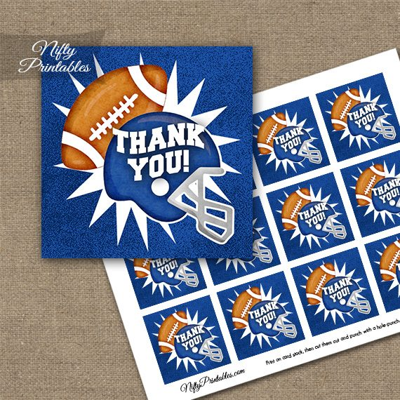 Blue Football Thank You Favor Tags