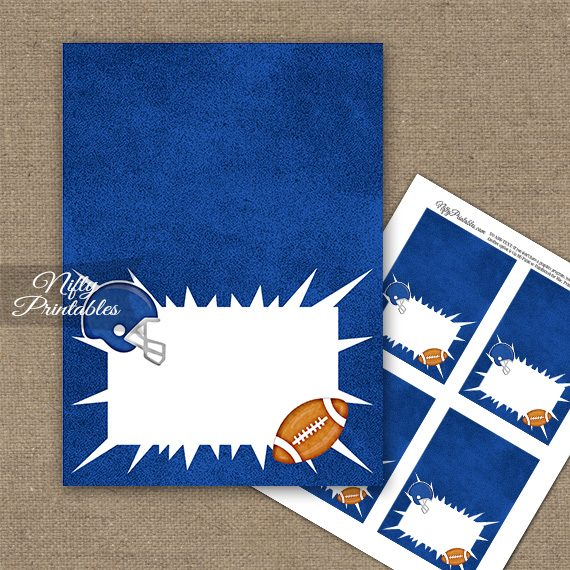 Blue Football Folded Tent Place Cards