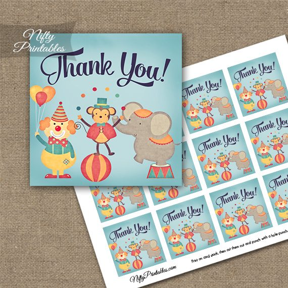 Cute Circus Birthday Thank You Favor Tags