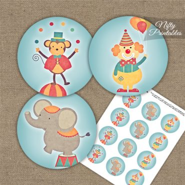 Cute Circus Birthday Cupcake Toppers