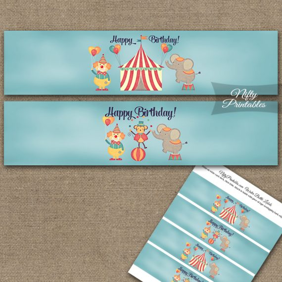 Cute Circus Birthday Water Bottle Labels