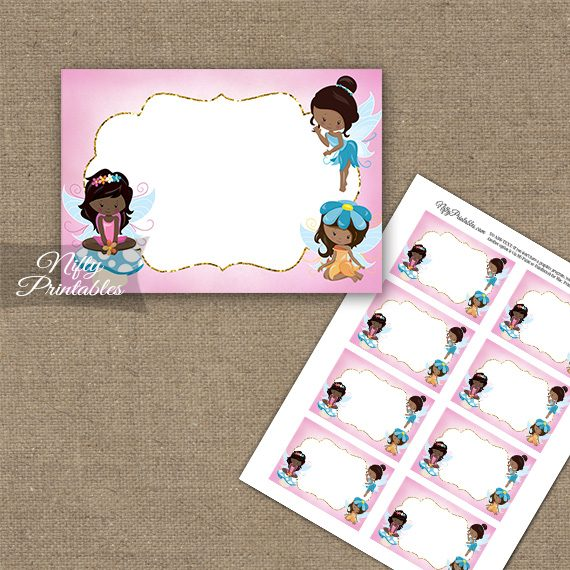 Fairies African American Birthday Blank Labels