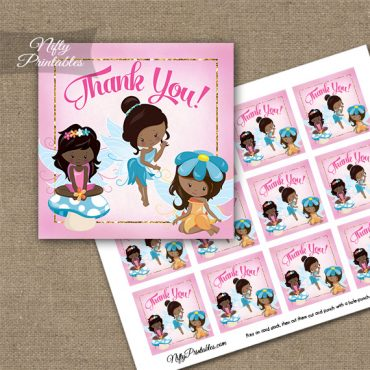 Fairies African American Birthday Thank You Favor Tags