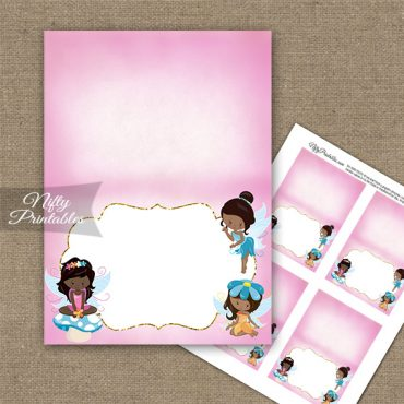Fairies African American Birthday Folded Tent Place Cards