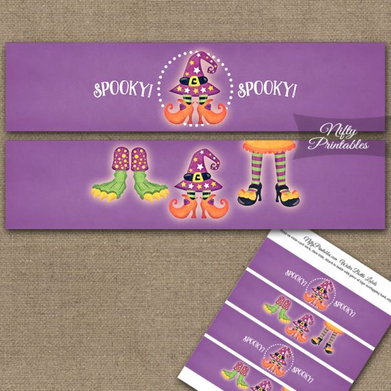 Funny Halloween Feet Water Bottle Labels