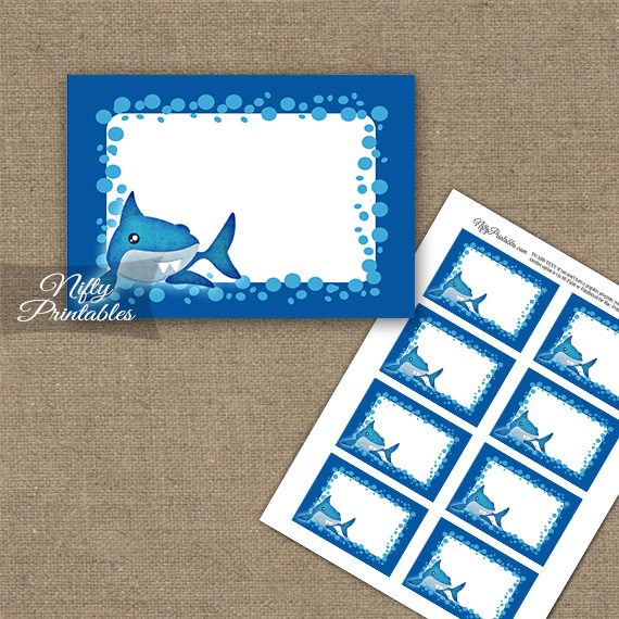 Funny Sharks Birthday Blank Labels
