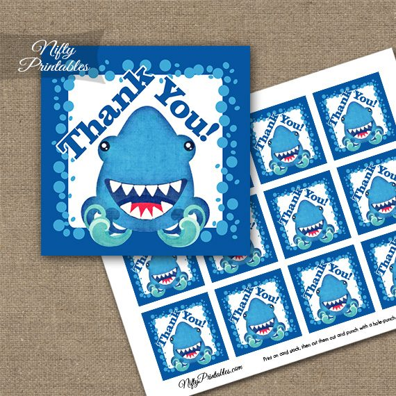 Funny Sharks Birthday Thank You Favor Tags