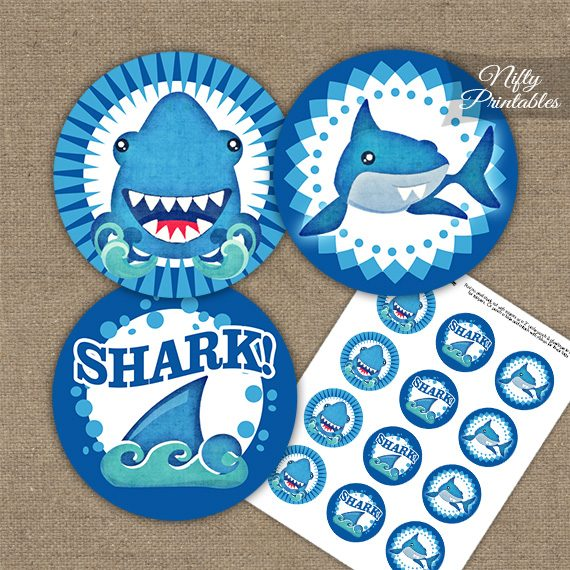 Funny Sharks Birthday Cupcake Toppers