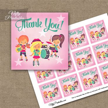 Girls Rock Band Birthday Thank You Favor Tags