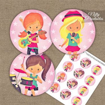 Girls Rock Band Birthday Cupcake Toppers