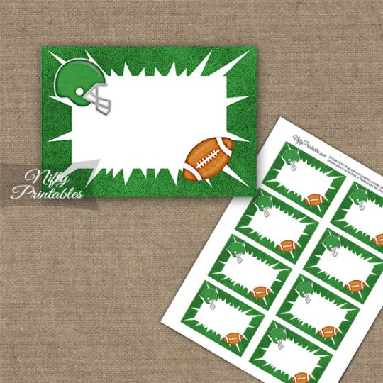 Green Football Blank Labels