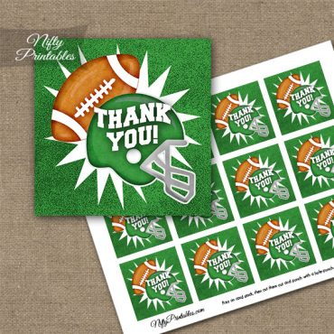 Green Football Thank You Favor Tags