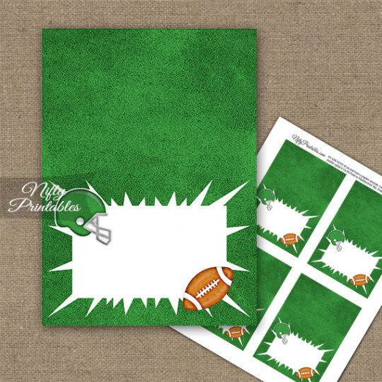 Green Football Folded Tent Place Cards