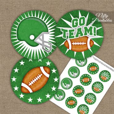 Green Football Cupcake Toppers