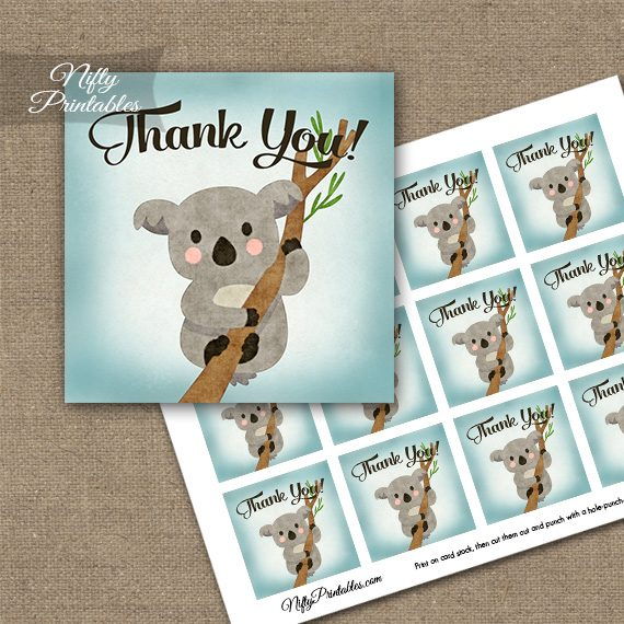 Koala Bear Thank You Favor Tags