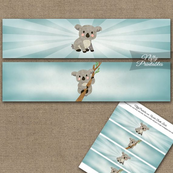 Koala Bear Water Bottle Labels