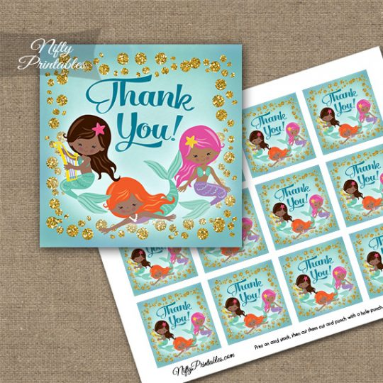 Mermaids African American Thank You Favor Tags