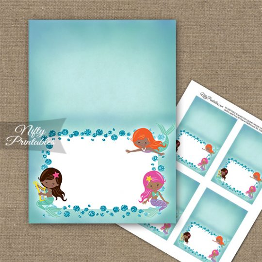 Mermaids African American Folded Tent Place Cards