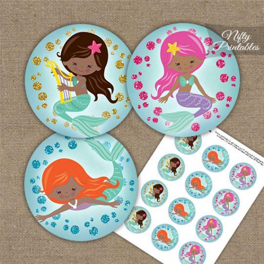 Mermaids African American Cupcake Toppers