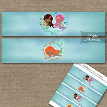 Mermaids African American Water Bottle Labels