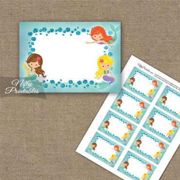 Mermaids Glitter Blank Labels