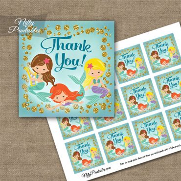 Mermaids Glitter Thank You Favor Tags