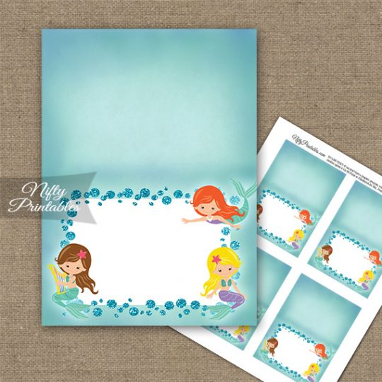 Mermaids Glitter Folded Tent Place Cards