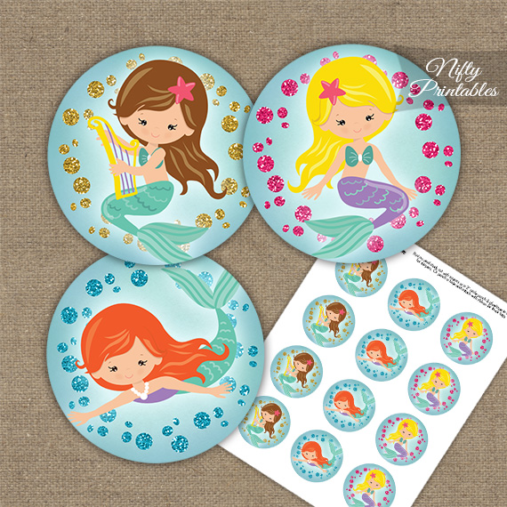 Mermaids Glitter Cupcake Toppers