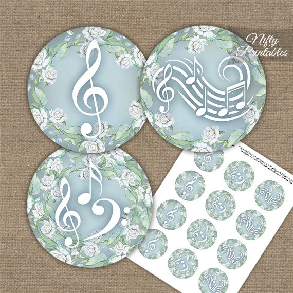 Music Romantic Cupcake Toppers